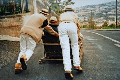 Åk korgsläde på Madeira